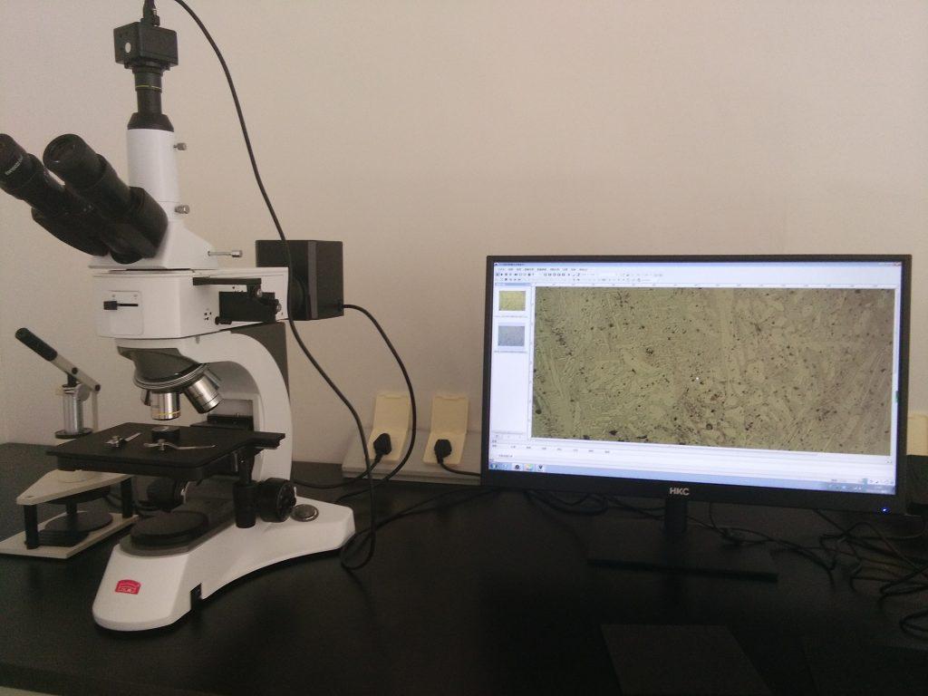 Control de calidad con Microscopio análisis metalográfico